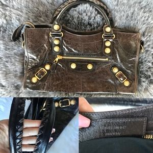 Balenciaga City Cafe Brown Handbag Chèvre Leather